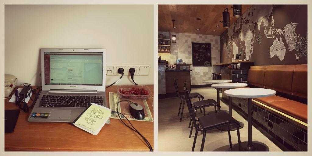 Lekker aan het werk en 's avonds een koffiepauze bij Starbucks in het nieuwe station